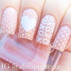 Valentine's day Nail Art. Nail Design. Polishes. Polish. Polished. Heart. Romantic. Love. by alinapinuccia