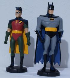 These Are Two Maquette's I did Of Batman And Robin From The Animated Series As A Commission Piece. The Originals Cost Hundreds Of Dollars Each To Buy, So I Was Able To Save Him Some $$. I used A Blue Superman For Robin And 'The Atom' For Batman. Apoxie Clay And Testors Model Master Paints. You Could See More Photos On My Website: http://www.rickylewis.net/home/category/dc-maquettes