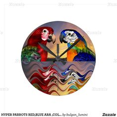 HYPER PARROTS RED,BLUE ARA ,COLORFUL REFLECTIONS ROUND CLOCKS