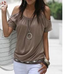 -NEW- COLD SHOULDER BLOUSE Love this blouse. It can be dressed up or down depending on the event. This top can also fit a M maybe a L. Soft lightweight simple top. Boutique Tops Blouses