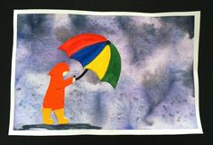 that artist woman: Rainy Day Watercolour, could be combined with the umbrella color wheel project I've pinned Art Activities For Kids, Art For Kids, Club D'art, Dinosaur Art Projects, Classe D'art, Weather Art, Spring Art Projects, Rain Art, Painted Paper
