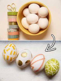 2. Washi Tape Easter Eggs -- DIY Easter Eggs Tutorials