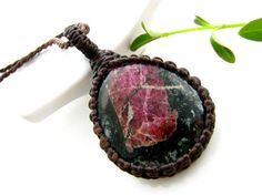 Eudialyte Necklace / Eudialyte jewelry / Rare / Macrame necklace / Healing gemstones and crystals / Unique gifts / hypoallergenic / Russia