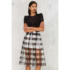 Kendall + Kylie Gingham Style Silk Skirt ($228) ❤ liked on Polyvore featuring skirts, mini skirts, high waisted pleated skirt, pleated skirt, white mini skirt, white pleated skirt and black and white skirt