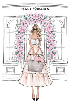 Fashion Wall Art, Fashion Prints, Fashion Bedroom, Fashion Illustration Sketches, Fashion Design Sketches, Rosa Pink, Colors For Skin Tone, Digital Art Girl, Pink Fashion