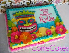 This style without the mask, add Lilo and Stitch figures. Change colors to purple, turquoise, blue. Hawaiian Birthday Cakes, 2 Birthday, Happy 13th Birthday, Birthday Sheet Cakes, Hawaiian Cakes, Moana Birthday, Aloha Party, Tiki Party, Luau Party