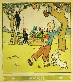 ¤ calendrier Herge Avril 1944 - Pâques. Tintin et Milou et les Dupondt. #Hergé