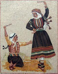 Arabic Folklore Dance Mosaic Marble Handmade