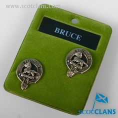 Bruce Clan Crest Cufflinks. Free worldwide shipping available
