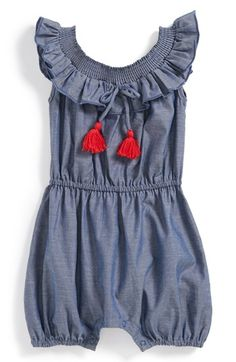 egg by susan lazar Chambray Romper (Baby Girls) available at #Nordstrom