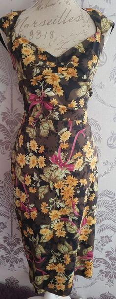 7574b5e862 karen millen floral daisy, Galaxy pencil wiggle/midi dress. Size uk 14.  Rare . | eBay
