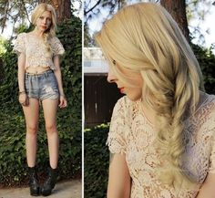 Sophisticated Lace with braided blonde hair.  Interesting look and details.
