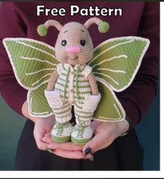 Crochet Fairy, Crochet Bee, Crochet Dragon, Crochet Butterfly, Crochet Bunny, Crochet Animals, Free Crochet, Doll Amigurumi Free Pattern, Crochet Doll Pattern