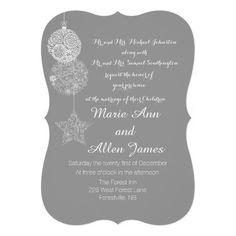 Christmas Ornaments Wedding Invitations - Gray