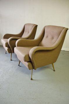 In stock: Pair 1950s modernist Italian armchairs in taupe Osborne & Little linen. #midcentury #chair