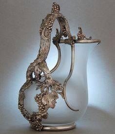 Silver mounted glass claret jug by William Eley, London, England 1837