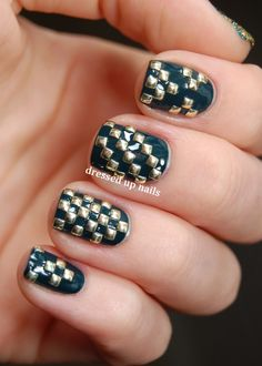 Dressed Up Nails - geometric square stud nail art Creative Nail Designs, Creative Nails, Nail Art Designs, Nails Design, Beautiful Nail Art, Gorgeous Nails, Pretty Nails, Amazing Nails, Get Nails