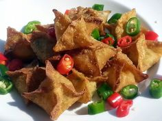"""LG CRAB RANGOON (EASY APPETIZER )! """"MY VERSION ~  ~ SIMPLE AND EASY ~ CHINESE APPETIZER ~  ~ LOVING IT""""  @allthecooks #recipe #appetizer #crab #chinese #rangoon #easy"""