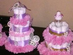 Butterfly Themed Baby Shower.... Diaper Cakes