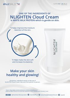 One of the ingredients of NLIGHTEN Cloud Cream is White Milk Protein which is gentle on the skin and helps improve the moisture retention of the skin and keeping it soft and increase its elasticity. Nlighten Products, Papaya For Skin, Good Manufacturing Practice, Milk Protein, Lip Cream, Even Skin Tone, Best Anti Aging, Good Skin, Healthy Skin
