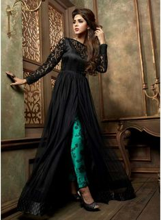 Glossy Black Net Designer Work Long Pakistani Suit. Online Buy Designer Pakistani Dress At Fiji. http://www.angelnx.com/