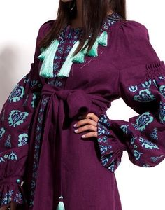 Ukrainian designer Yuliya Magdych combines ukrainian traditions and modernity. Ethnic Fashion, Hijab Fashion, Boho Fashion, Fashion Dresses, African Fashion, Womens Fashion, Maxi Dress With Sleeves, Dress Skirt, Dress Up
