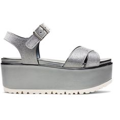 Stuart Weitzman CROSSPATH (€195) ❤ liked on Polyvore featuring shoes, sandals, gray glitter, wedges, gray wedge sandals, gray shoes, grey sandals, glitter shoes and stuart weitzman shoes
