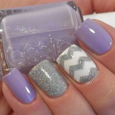 A cute periwinkle and white color combination with silver dust for matte and details.