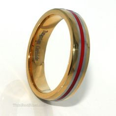 28 thin red line 6mm tungsten wedding band 18k gold ip red resin thin red blue - Firefighter Wedding Rings