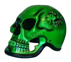 Green Skull Man #3D #Motorcycle #Helmet Gloss Airbrushed
