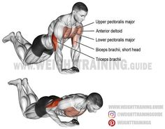 Diamond push-up on knees. A compound Target muscle: Triceps Brachii. Synergists: Lower Pectoralis Major, Upper Pectoralis Major, and Anterior Deltoid. Dynamic stabilizer: Biceps Brachii (short head only). Fitness Hacks, Fitness Workouts, At Home Workouts, Fitness Motivation, Best Chest Workout, Chest Workouts, Weight Training Workouts, Gym Workout Tips, Workout For Beginners
