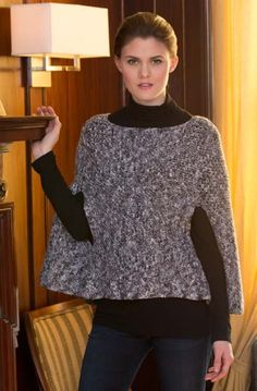 Sparkling Poncho With Arm Slits in Red Heart Shimmer Solids - LW4107. Discover more Patterns by Red Heart Yarns at LoveKnitting. The world's largest range of knitting supplies - we stock patterns, yarn, needles and books from all of your favorite brands.