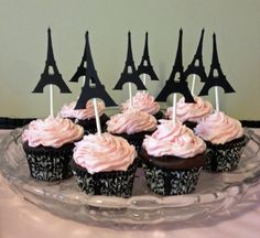 24 Eiffel torre Cupcake Toppers fiesta de cumpleaños de