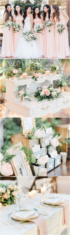 Blush wedding reception ideas; photo: Honey Honey Photography