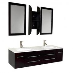 A rich espresso finish highlights this Fresca Bellezza modern bathroom vanity. This double sunken-sink vanity features two mirrors and two Fresca Tartaro faucets. Double Sink Bathroom, Double Sink Vanity, Vanity Set With Mirror, Vanity Sink, Kitchen And Bath, Modern Bathroom, Double Sinks, Vessel Sink Bathroom, Bathroom Vanities