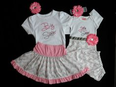 Chevron Sisters Outfits Layette Gown & Skirt Outfit Big Sisster and Little Sister Baby Girl Clothes Newborn Take Home outfit Girl Gift Set on Etsy, $88.00