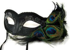 Peacock Feathered Venetian Mask - Gothic Attire - Masquerade Masks