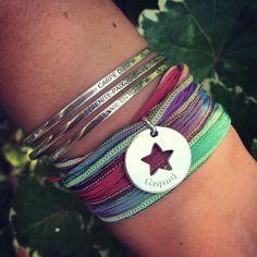Composition de bracelets joncs et galon en soie - L'Atelier d'Amaya #bijoux #carpediem #étoile #personnalisation
