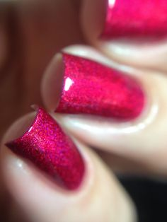 No, I'm Still Tacky - Bright cherry red holo with lighter red glow.  This polish leans just a touch magenta. Swatch by @jennpadd1 on Instagram.