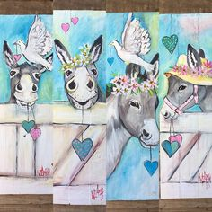 donkeys turquoise Animal Drawings, Art Drawings, Donkey Drawing, Painting On Pallet Wood, Cute Donkey, Horse Wallpaper, Farm Art, Coyotes, Horse Art