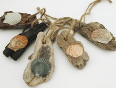 Driftwood and Seashell Ornaments 5 Handmade Eco by Seagypsys
