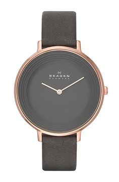 Skagen+'Ditte'+Textured+Dial+Leather+Strap+Watch,+37mm+available+at+#Nordstrom