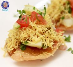 Sev Puri - #Indian Canape - #Vegetarian Fast Food #Recipe by Ruchi Bharani