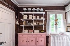 Eat In Kitchen, Kitchen Pantry, Kitchen Dining, Pink Cabinets, Sweet Home, Granny Chic, Dark Walls, White Trim, China Cabinet