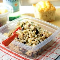 Chicken Salad with Olives & Israeli Couscous-- I bet it would be good with good canned tuna instead of chicken to switch things up.