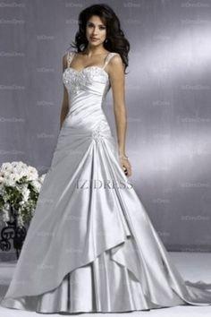 A-Line/Princess Sweetheart Strapless Court Train Satin wedding dress - IZIDRESSES.com at IZIDRESSES.com