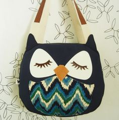 Susie the Owl, ikat canvas tote purse.