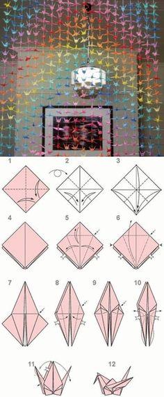 DIY Paper Origami Crane Curtain
