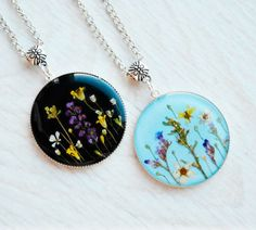Terrarium necklace Pressed flower necklace Real by CHICARDELO