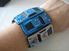 Bright BLUE CAR Cuff Bracelet Matchbox Hot Wheels by ChinnyFlynny, $15.00    Now I know what to do with all those cars from my son Gus!!!